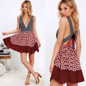 Lulus La Vie Roses Boho Mini Sun Dress Size Medium